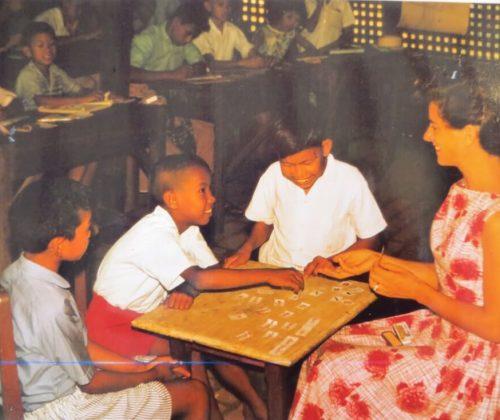 Sandra in her bamboo school